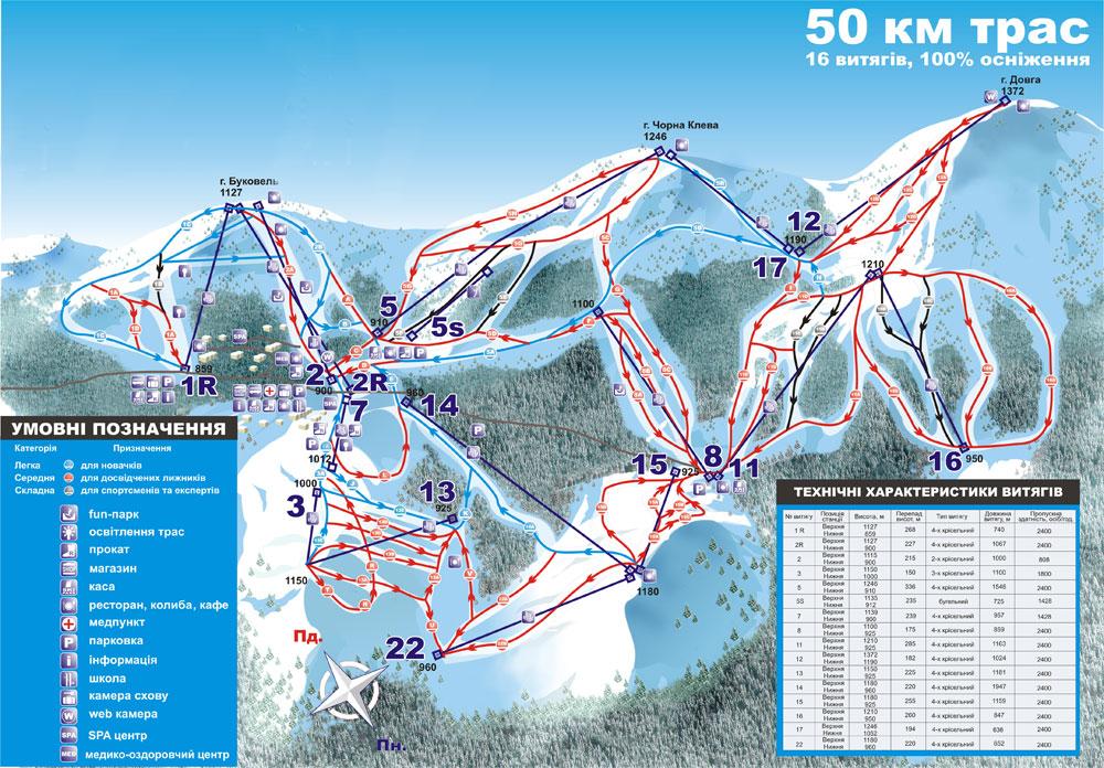 Схема горнолыжных трасс и подъемников на Буковели, Карпаты